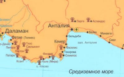 на карте маршрут из анталии в кемер